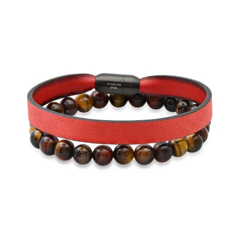 Anthony Jacobs // Tiger Eye + Braided Leather Bracelet Set // Red + Black + Brown