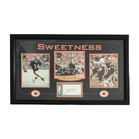Walter Payton // Signed Chicago Bears Cut Triple Framed Photo Collage