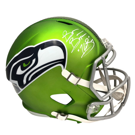 "Brian Bosworth // Signed Inscribed ""BOZ"" Seattle Seahawks Green AMP Alternate Helmet"
