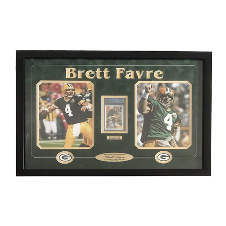 Brett Favre // Framed Packers Collage + Signed Rookie Card
