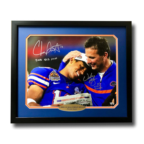 Urban Meyer / Chris Leak Dual // Signed + Framed Florida Gators Photo
