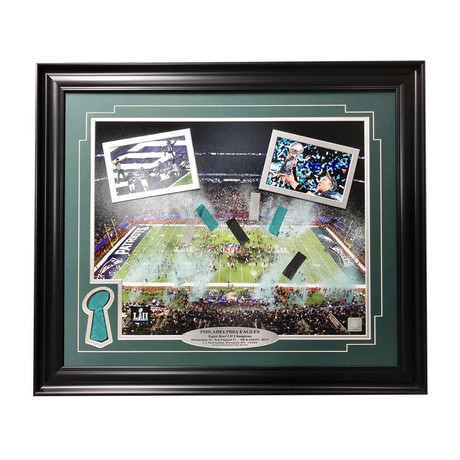 Philadelphia Eagles // Super Bowl Champions Framed Collage + Authentic Confetti