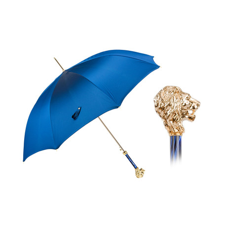 Umbrella + Gold Lion Handle // Blue