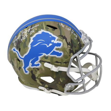 "Barry Sanders // Detroit Lions // Signed Riddell Full Size Replica Helmet // w/ ""HOF'04"" + ""The Lion King"" Inscriptions // Camo"