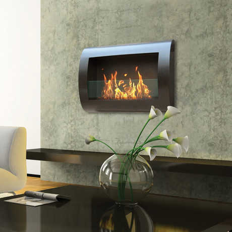 Anywhere Fireplace Chelsea // Indoor Wall Mount Fireplace +  6-Pack SmartFuel (Black)