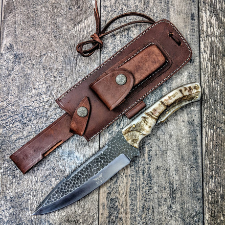 Large Drop Point Saw Back Forged Hunter