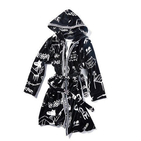 Emerson Bar Shawl Hooded Robe // Black (S)