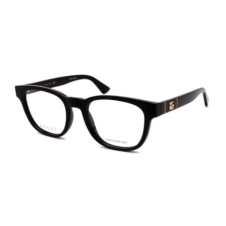 Gucci // Men's GG0764O-001 Rectangular Optical Frames // Black + Black