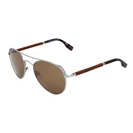 Men's ZC0002 Sunglasses // Silver + Brown
