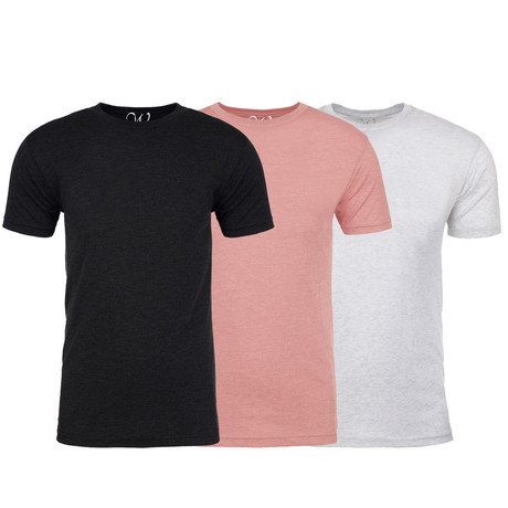 Soft Heathered Tri-blend Crew Neck T-Shirts // Black + Pink + White // Pack of 3 (S)