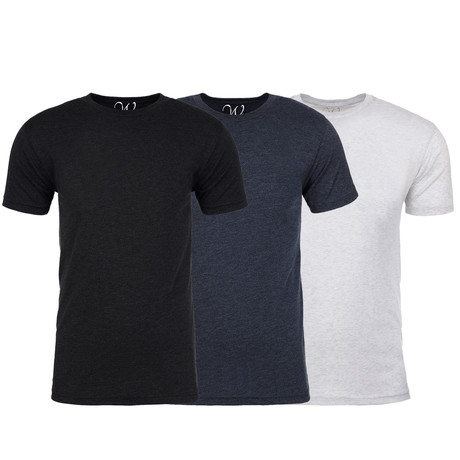 Soft Heathered Tri-blend Crew Neck T-Shirts // Black + Navy + White // Pack of 3 (S)