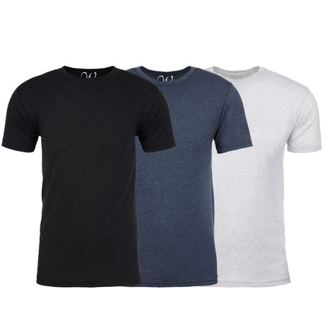Soft Heathered Tri-blend Crew Neck T-Shirts // Black + Indigo + White // Pack of 3 (S)