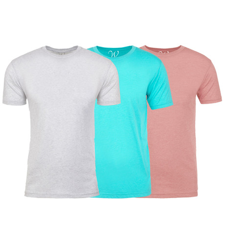 Soft Heathered Tri-blend Crew Neck T-Shirts // White + Aqua + Pink // Pack of 3 (S)