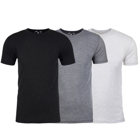 Soft Heathered Tri-blend Crew Neck T-Shirts // Black + Heather Gray + White // Pack of 3 (S)