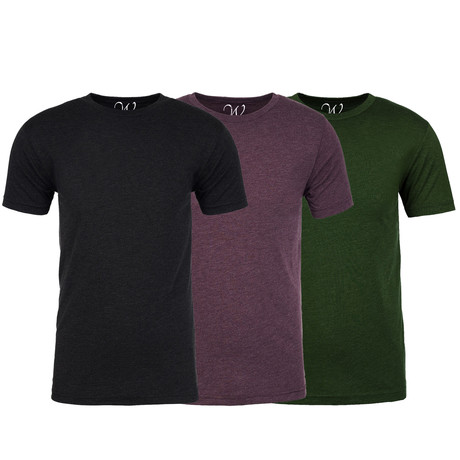 Soft Heathered Tri-blend Crew Neck T-Shirts // Black + Burgundy + Forest Green // Pack of 3 (S)