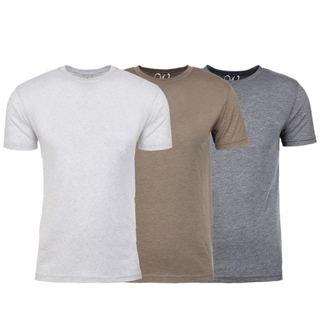 Soft Heathered Tri-blend Crew Neck T-Shirts // White + Stone + Heather Gray // Pack of 3 (S)