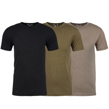Soft Heathered Tri-blend Crew Neck T-Shirts // Black + Military Green + Stone // Pack of 3 (S)