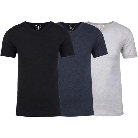 Soft Heathered Tri-blend V-Neck T-Shirts // Black + Navy + White // Pack of 3 (S)