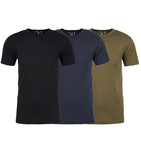 Soft Heathered Tri-blend Crew Neck T-Shirts // Black + Navy + Military Green // Pack of 3 (S)