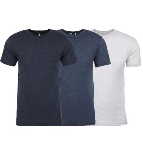 Soft Heathered Tri-blend Crew Neck T-Shirts // Navy + Indigo + White // Pack of 3 (S)