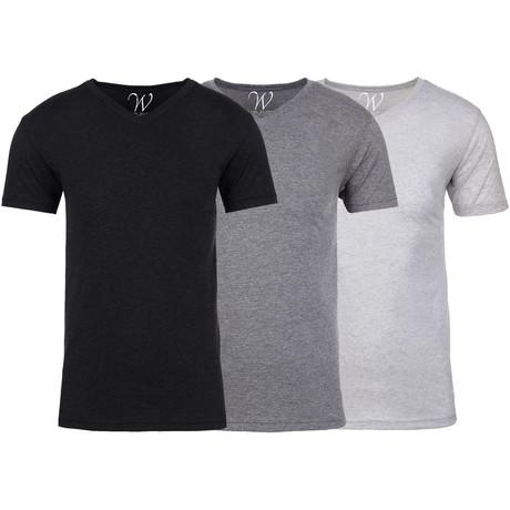 Soft Heathered Tri-blend V-Neck T-Shirts // Black + Heather Gray + White // Pack of 3 (S)