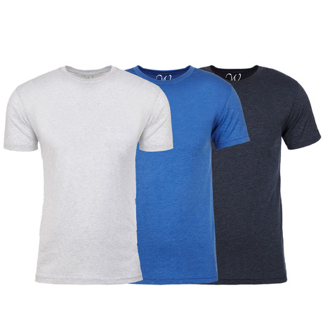 Soft Heathered Tri-blend Crew Neck T-Shirts // White + Royal + Navy // Pack of 3 (S)