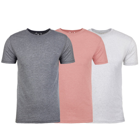 Soft Heathered Tri-blend Crew Neck T-Shirts // Heather Gray + Pink + White // Pack of 3 (S)