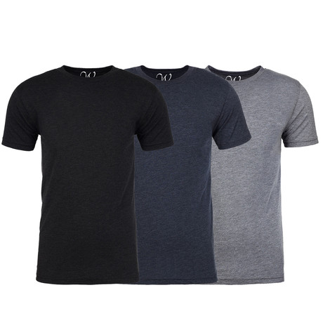 Soft Heathered Tri-blend Crew Neck T-Shirts // Black + Navy + Heather Gray // Pack of 3 (S)