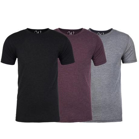 Soft Heathered Tri-blend Crew Neck T-Shirts // Black + Burgundy + Heather Gray // Pack of 3 (S)