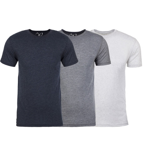 Soft Heathered Tri-blend Crew Neck T-Shirts // Navy + Heather Gray + White // Pack of 3 (S)