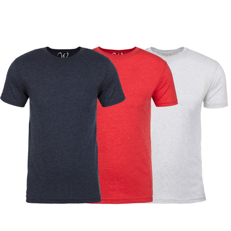 Soft Heathered Tri-blend Crew Neck T-Shirts // Navy + Red + White // Pack of 3 (S)