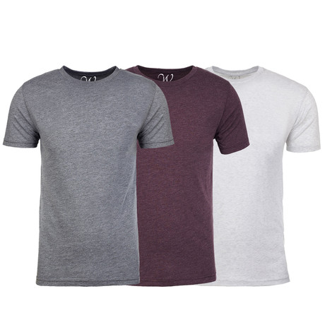 Soft Heathered Tri-blend Crew Neck T-Shirts // Heather Gray + Burgundy + White // Pack of 3 (S)