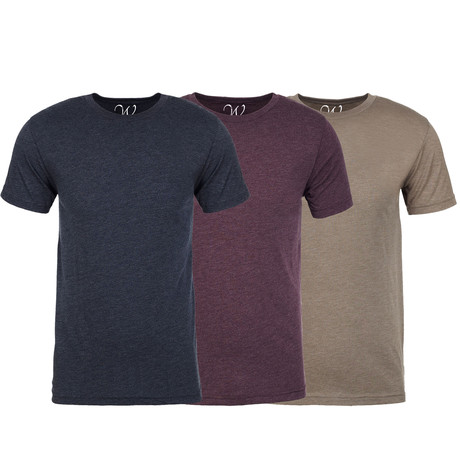 Soft Heathered Tri-blend Crew Neck T-Shirts // Navy + Burgundy + Stone // Pack of 3 (S)