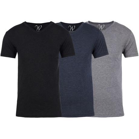 Soft Heathered Tri-blend V-Neck T-Shirts // Black + Navy + Heather Gray // Pack of 3 (S)