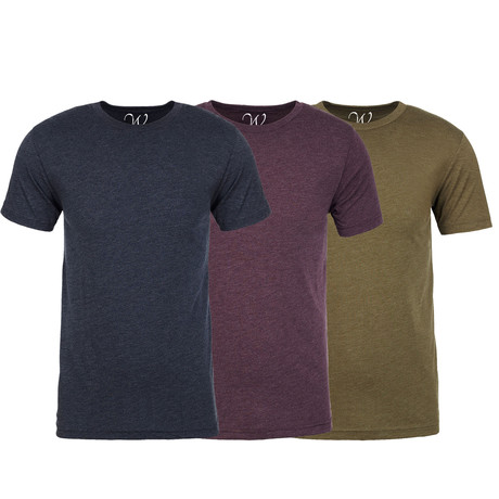 Soft Heathered Tri-blend Crew Neck T-Shirts // Navy + Burgundy + Military Green // Pack of 3 (S)