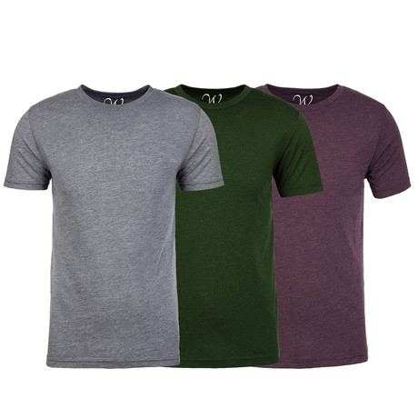 Soft Heathered Tri-blend Crew Neck T-Shirts // Heather Gray + Forest Green + Burgundy // Pack of 3 (S)