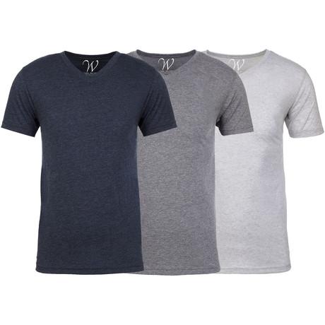 Soft Heathered Tri-blend V-Neck T-Shirts // Navy + Heather Gray + White // Pack of 3 (S)