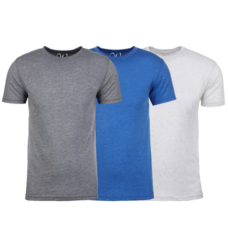Soft Heathered Tri-blend Crew Neck T-Shirts // Heather Gray + Royal + White // Pack of 3 (S)