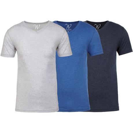 Soft Heathered Tri-blend V-Neck T-Shirts // White + Royal + Navy // Pack of 3 (S)
