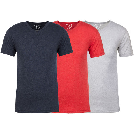 Soft Heathered Tri-blend V-Neck T-Shirts // Navy + Red + White // Pack of 3 (S)