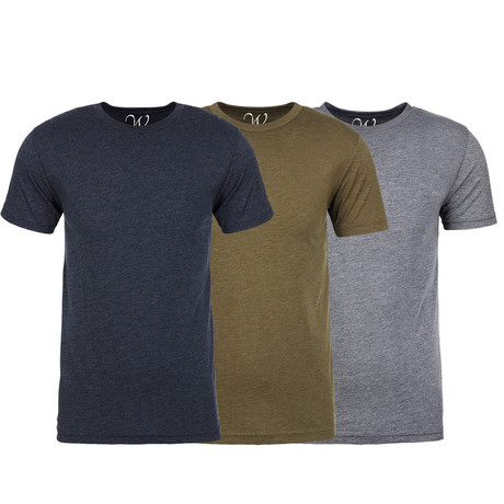 Soft Heathered Tri-blend Crew Neck T-Shirts // Navy + Military Green + Heather Gray // Pack of 3 (S)