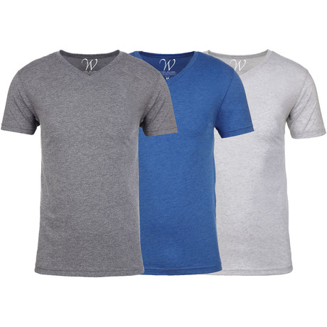 Soft Heathered Tri-blend V-Neck T-Shirts // Heather Gray + Royal + White // Pack of 3 (S)