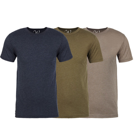 Soft Heathered Tri-blend Crew Neck T-Shirts // Navy + Military Green + Stone // Pack of 3 (S)