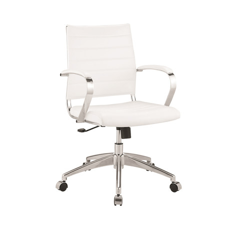 Remi Office Chair // White Pu-Leather + Chrome Plated Base