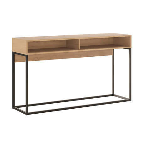 Lilly Console Table // Birch Melamine + Black Metal Painted Frame