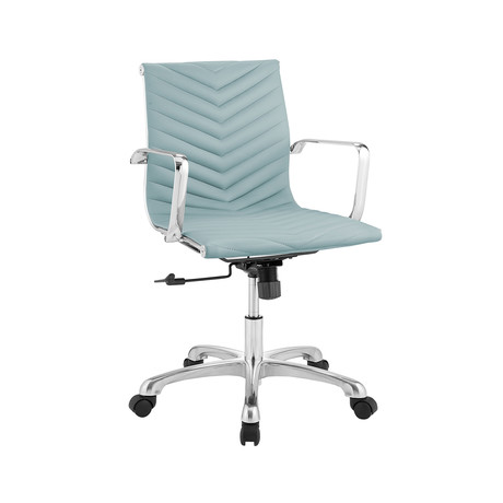 Arabella Arm Office Chair // Light Blue Pu-Leather + Chrome Plated Base