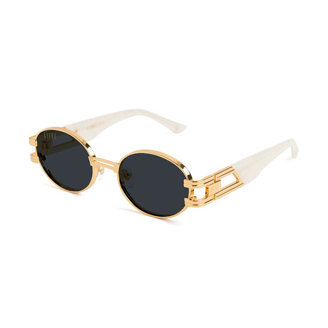 Unisex St James Sunglasses // Black + Gold + White Croc