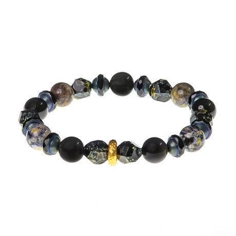 Dell Arte // Picasso Glass + Obsidian Bead Bracelet // Black