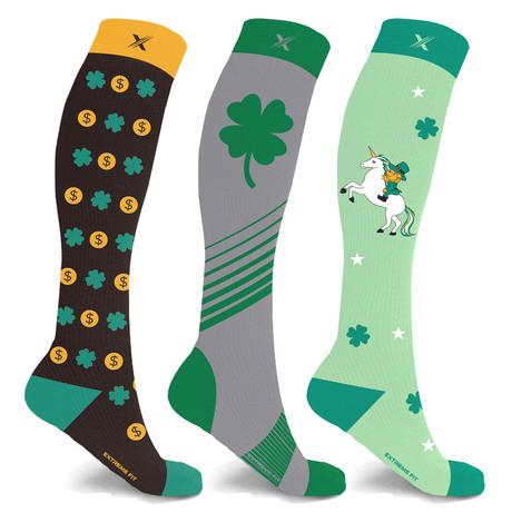 St. Patrick's Day Lucky Celebration Compression Socks // 3-Pairs (Small / Medium)