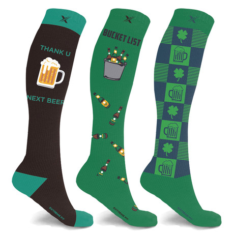 St. Patrick's Day Celebration Compression Socks // 3-Pairs (Small / Medium)